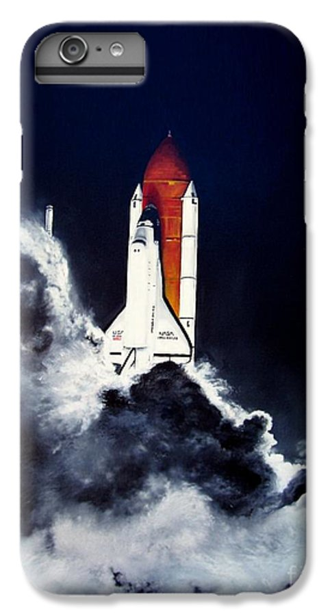 Oil IPhone 6s Plus Case featuring the painting Night Launch by Murphy Elliott