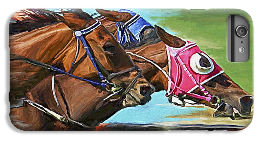 Horses IPhone 6s Plus Case featuring the painting Nikita By A Head by David Wagner
