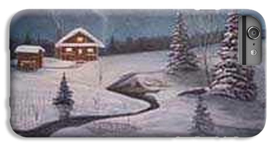 Rick Huotari IPhone 6s Plus Case featuring the painting North Woods Cabin by Rick Huotari