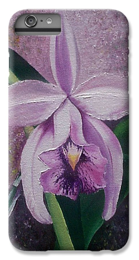 Orchid Purple Floral Botanical IPhone 6s Plus Case featuring the painting Orchid Lalia by Karin Dawn Kelshall- Best