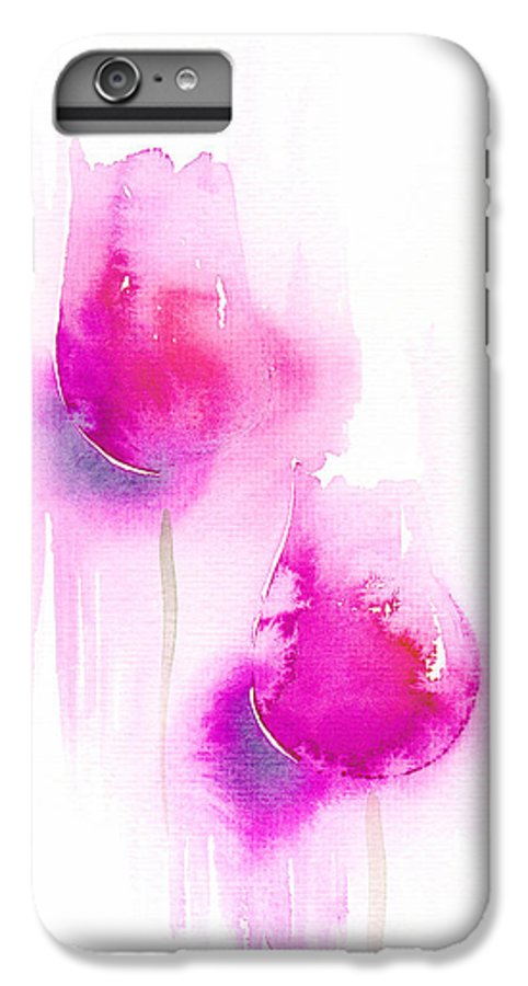 Tulips IPhone 6s Plus Case featuring the painting Pink Tulips by Christina Rahm Galanis