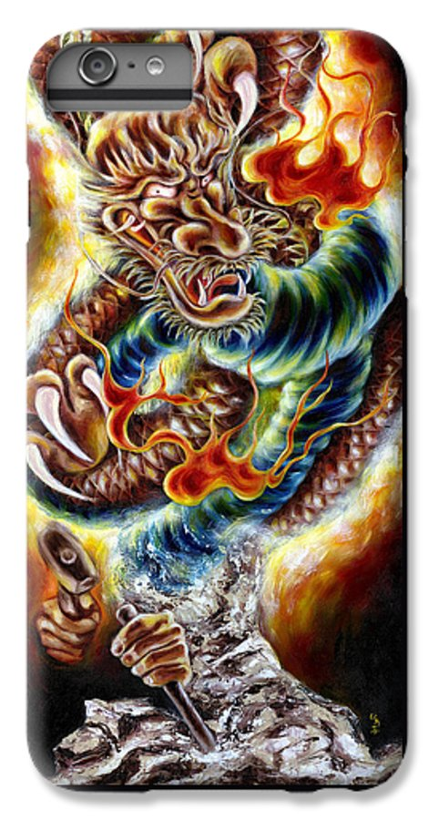 Caving IPhone 6s Plus Case featuring the painting Power Of Spirit by Hiroko Sakai