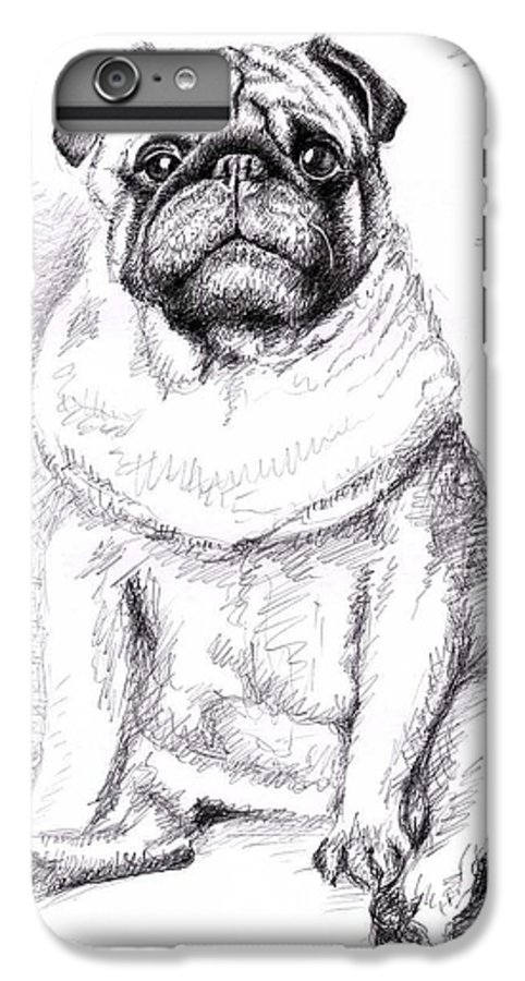 Dog IPhone 6s Plus Case featuring the drawing Pug Anton by Nicole Zeug