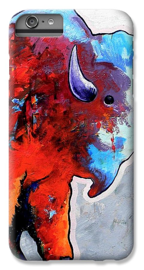 Wildlife IPhone 6s Plus Case featuring the painting Rainbow Warrior Bison by Joe Triano