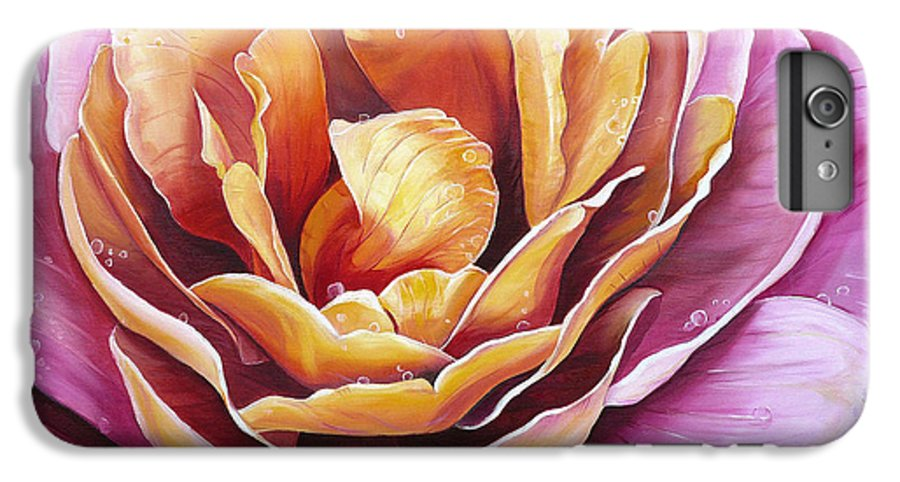 Rose Painting Pink Yellow Floral Painting Flower Bloom Botanical Painting Botanical Painting IPhone 6s Plus Case featuring the painting Rosy Dew by Karin Dawn Kelshall- Best