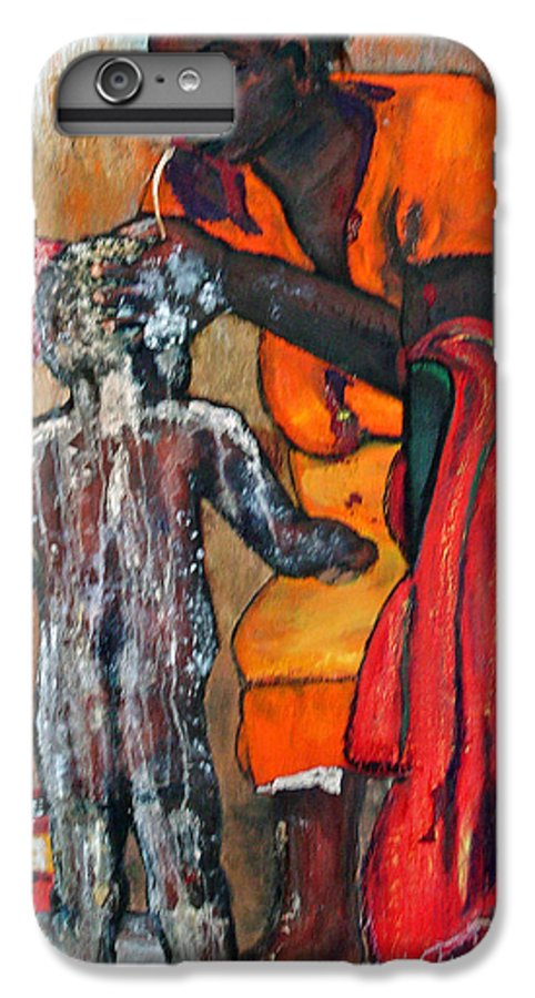 Mom Bathing Boy IPhone 6s Plus Case featuring the painting Saturday Night Bath by Peggy Blood