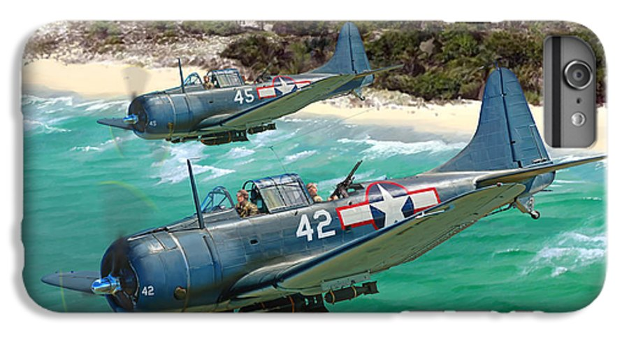 Aviation IPhone 6s Plus Case featuring the painting Sbd Dauntless by Mark Karvon