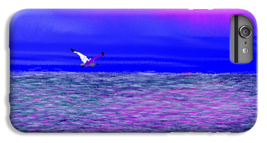 Evening.sky.clouds.sunrays.sun.sunset.sea.waves.colors.blue.pink.red.dark Blue IPhone 6s Plus Case featuring the digital art Sea. Last Rays Of Sun by Dr Loifer Vladimir