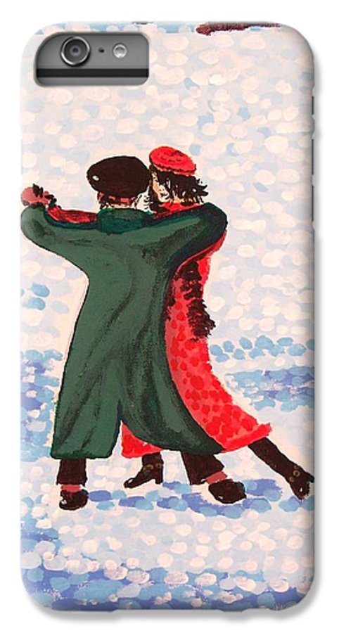 Snow IPhone 6s Plus Case featuring the painting Snow Tango by Alan Hogan