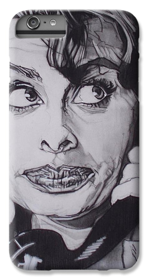 Charcoal;icon;actress;diva;italian;cat Eyes;beautiful;cute;adorable IPhone 6s Plus Case featuring the drawing Sophia Loren Telephones by Sean Connolly