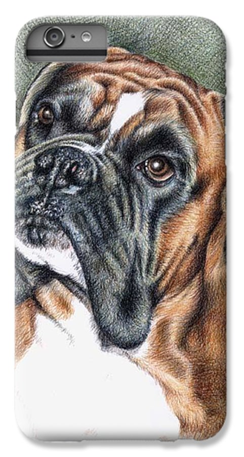 Dog IPhone 6s Plus Case featuring the drawing The Boxer by Nicole Zeug