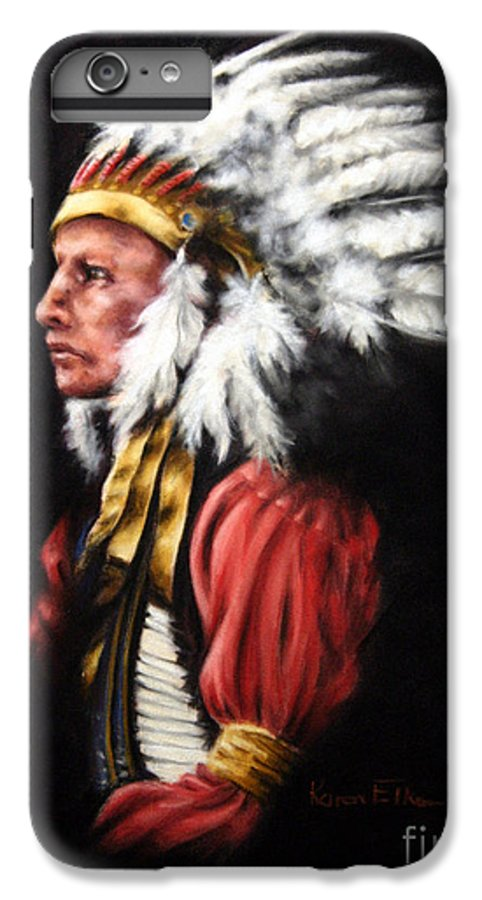 Native American IPhone 6s Plus Case featuring the pastel The Chief 2 by Karen Elkan