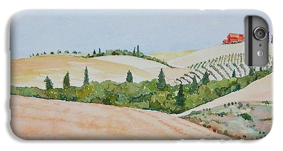 Landscape IPhone 6s Plus Case featuring the painting Tuscan Hillside One by Mary Ellen Mueller Legault