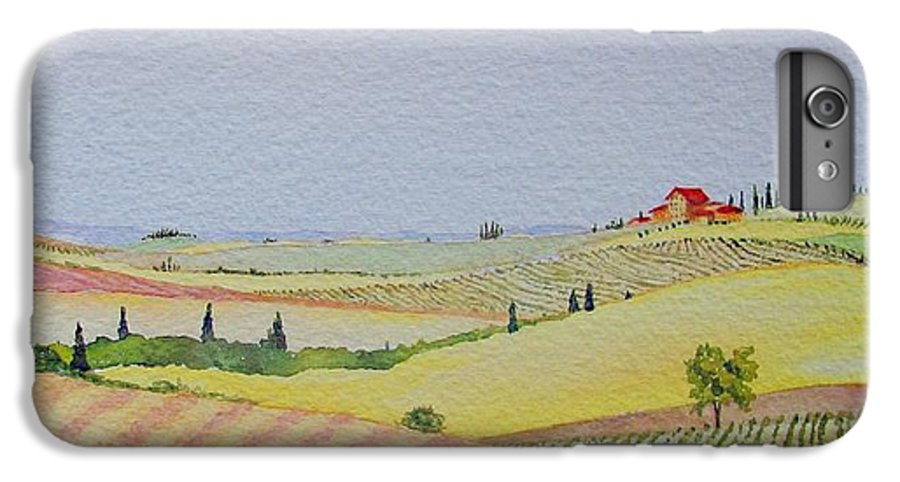 Watercolor IPhone 6s Plus Case featuring the painting Tuscan Hillside Three by Mary Ellen Mueller Legault