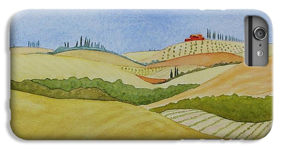 Italy IPhone 6s Plus Case featuring the painting Tuscan Hillside Two by Mary Ellen Mueller Legault
