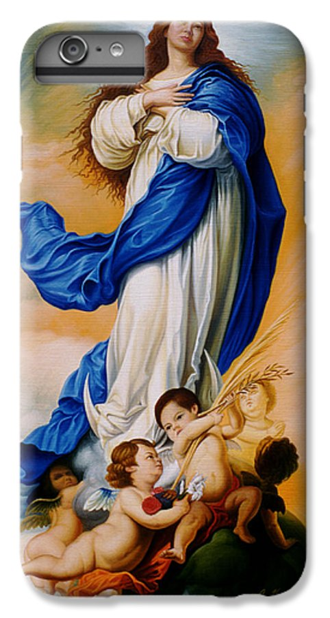 Immaculate Conception IPhone 6s Plus Case featuring the painting Virgin Of The Immaculate Conception After Murillo by Gary Hernandez