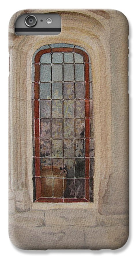 Window IPhone 6s Plus Case featuring the painting What Is Behind The Window Pane by Mary Ellen Mueller Legault