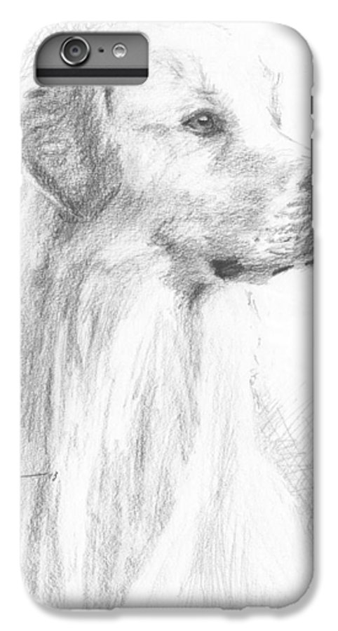 <a Href=http://miketheuer.com Target =_blank>www.miketheuer.com</a> Yellow Labrador Show Dog Pencil Portrait IPhone 6s Plus Case featuring the drawing Yellow Labrador Show Dog Pencil Portrait by Mike Theuer