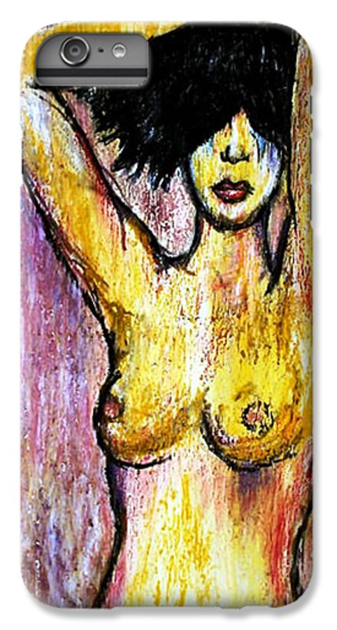 Nude IPhone 6s Plus Case featuring the drawing Yellow by Thomas Valentine