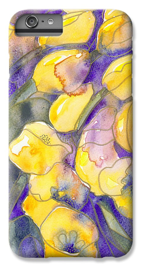 Yellow Tulips IPhone 6s Plus Case featuring the painting Yellow Tulips 3 by Christina Rahm Galanis