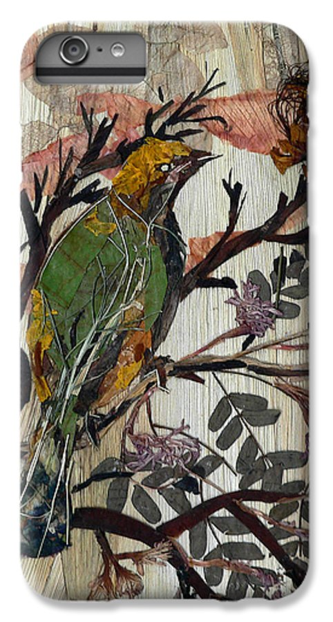 Green Bird IPhone 6s Plus Case featuring the mixed media Green-yellow Bird by Basant Soni