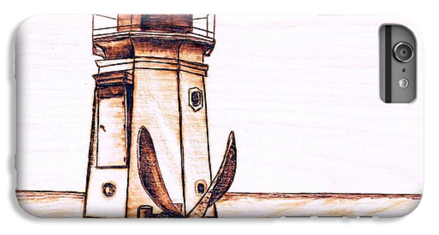 Lighthouse IPhone 6s Plus Case featuring the pyrography Vermilion Lighthouse by Danette Smith