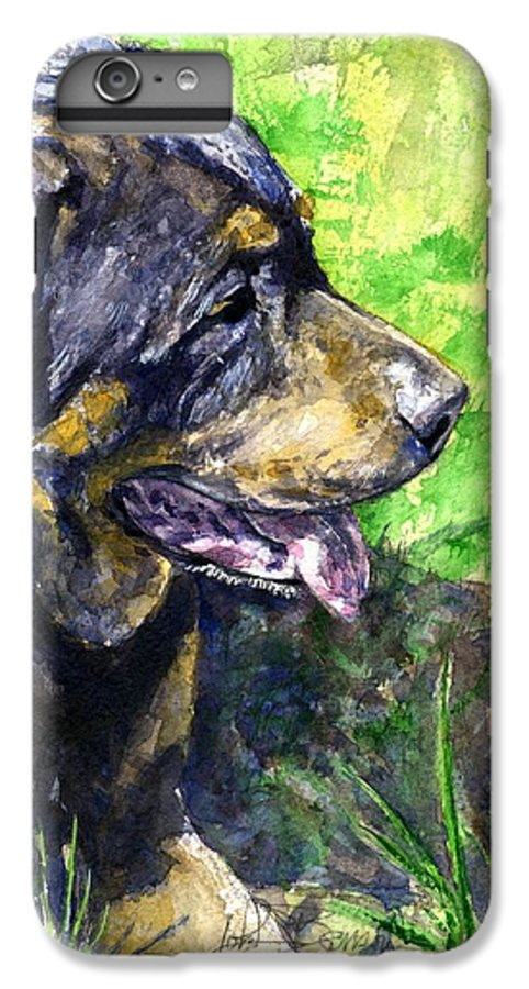 Rottweiler IPhone 6s Plus Case featuring the painting Chaos by John D Benson
