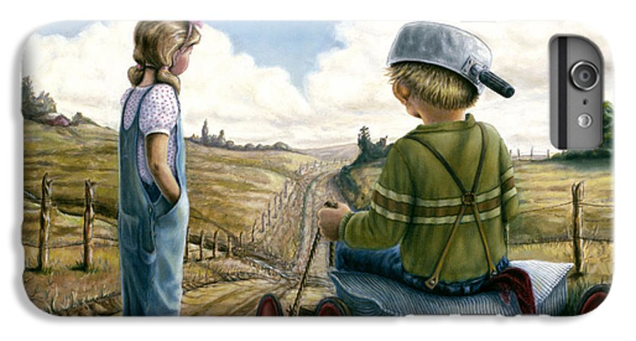 Children Playing IPhone 6s Plus Case featuring the painting Down Hill Racer by Lance Anderson