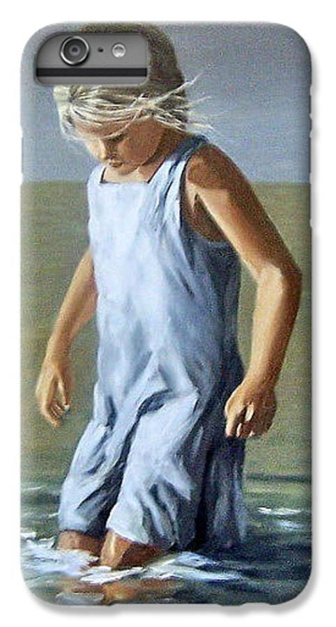 Girl Children Reflection Water Sea Figurative Portrait IPhone 6s Plus Case featuring the painting Girl by Natalia Tejera