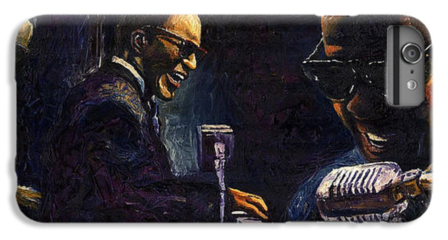 Jazz IPhone 6s Plus Case featuring the painting Jazz Ray Charles by Yuriy Shevchuk