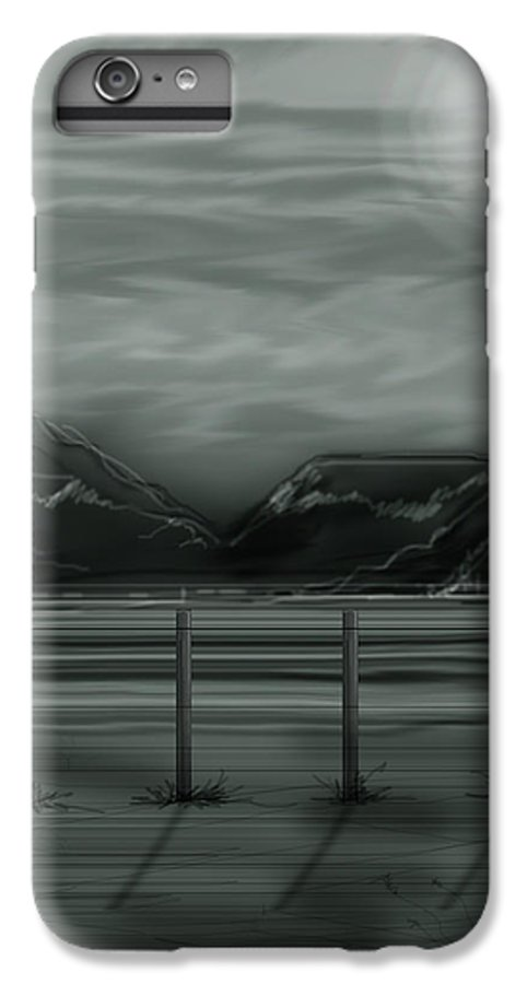 Landscape IPhone 6s Plus Case featuring the painting Moon Over The Beartooth by Anne Norskog