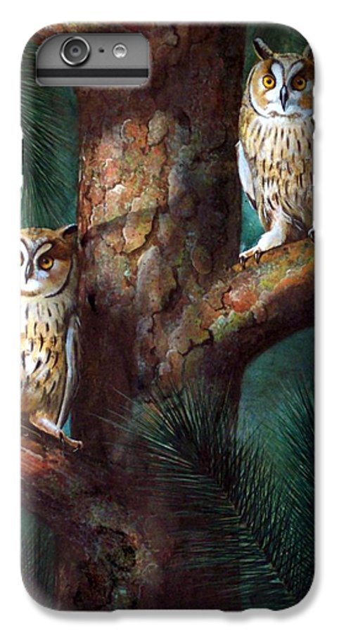 Wildlife IPhone 6s Plus Case featuring the painting Owls In Moonlight by Frank Wilson