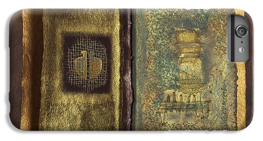 Artist-book IPhone 6s Plus Case featuring the mixed media Page Format No 1 Transitional Series by Kerryn Madsen-Pietsch