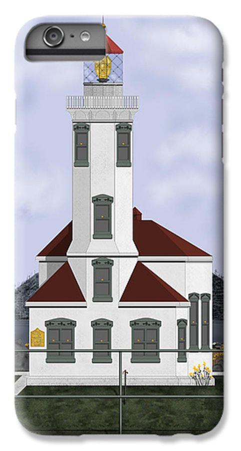 Lighthouse IPhone 6s Plus Case featuring the painting Point Wilson Lighthouse by Anne Norskog