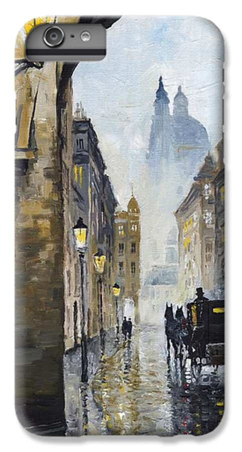 Prague IPhone 6s Plus Case featuring the painting Prague Old Street 01 by Yuriy Shevchuk