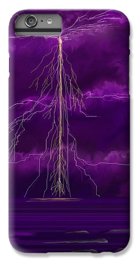 Lightning Storm IPhone 6s Plus Case featuring the painting Tesla by Anne Norskog
