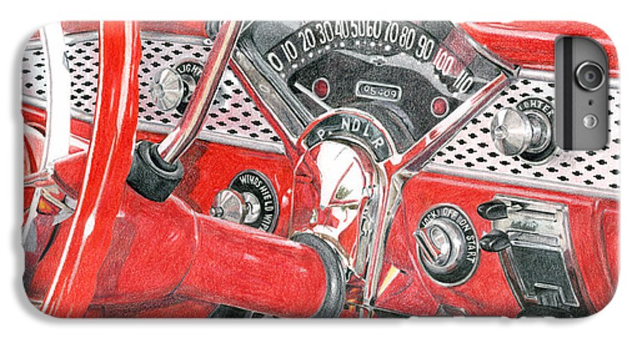 Classic IPhone 6s Plus Case featuring the drawing 1955 Chevrolet Bel Air by Rob De Vries