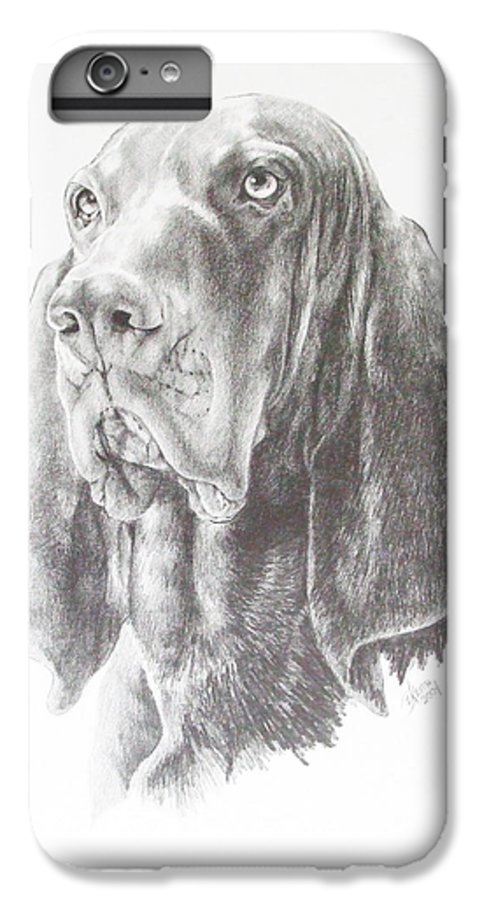 Purebred Dogs IPhone 6s Plus Case featuring the drawing Black And Tan Coonhound by Barbara Keith