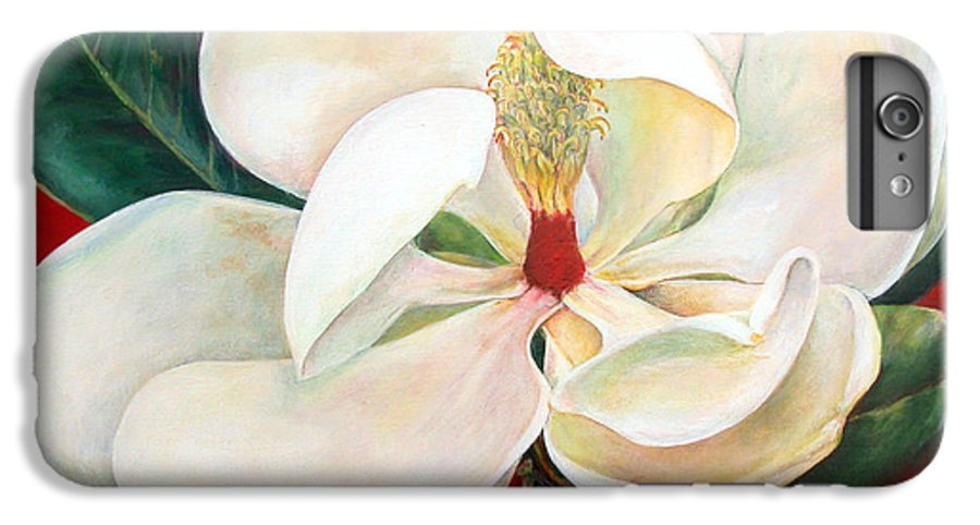 Floral Painting IPhone 6s Plus Case featuring the painting Magnolia by Muriel Dolemieux