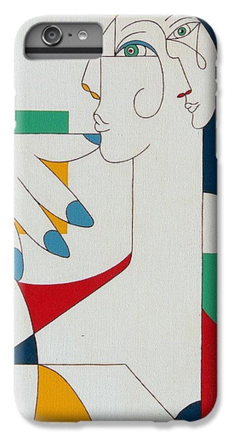 Portrait IPhone 6s Plus Case featuring the painting 5 Fingers by Hildegarde Handsaeme