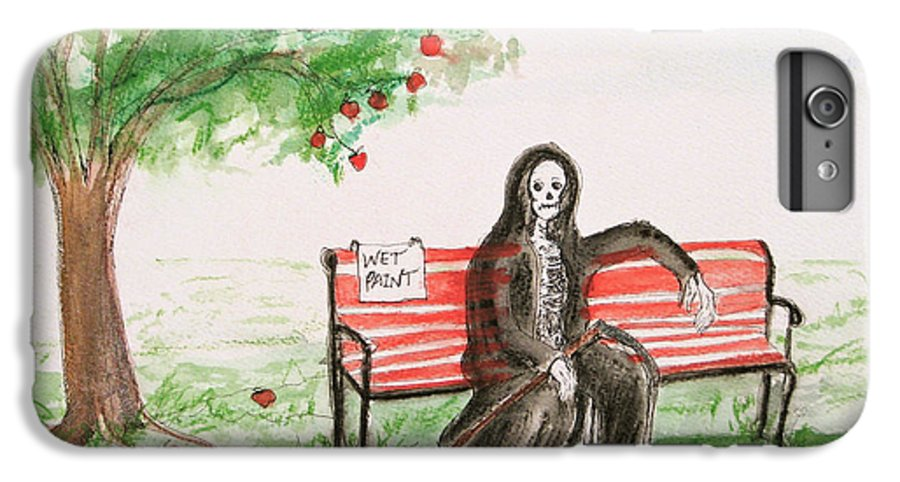 Darkestartist Day Death Holiday Humor Ink Off Paint Park Watercolor Watercolour IPhone 6s Plus Case featuring the painting A Day At The Park by Darkest Artist