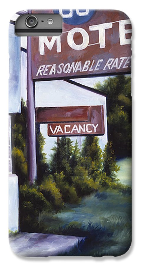 Motel; Route 66; Desert; Abandoned; Delapidated; Lost; Highway; Route 66; Road; Vacancy; Run-down; Building; Old Signage; Nastalgia; Vintage; James Christopher Hill; Jameshillgallery.com; Foliage; Sky; Realism; Oils IPhone 6s Plus Case featuring the painting A Road Less Traveled by James Christopher Hill