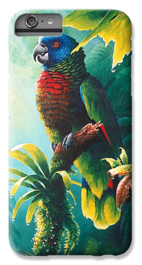 Chris Cox IPhone 6s Plus Case featuring the painting A Shady Spot - St. Lucia Parrot by Christopher Cox