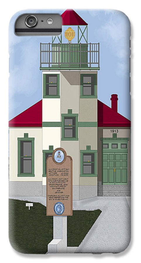 Lighthouse IPhone 6s Plus Case featuring the painting Alki Point On Elliott Bay by Anne Norskog