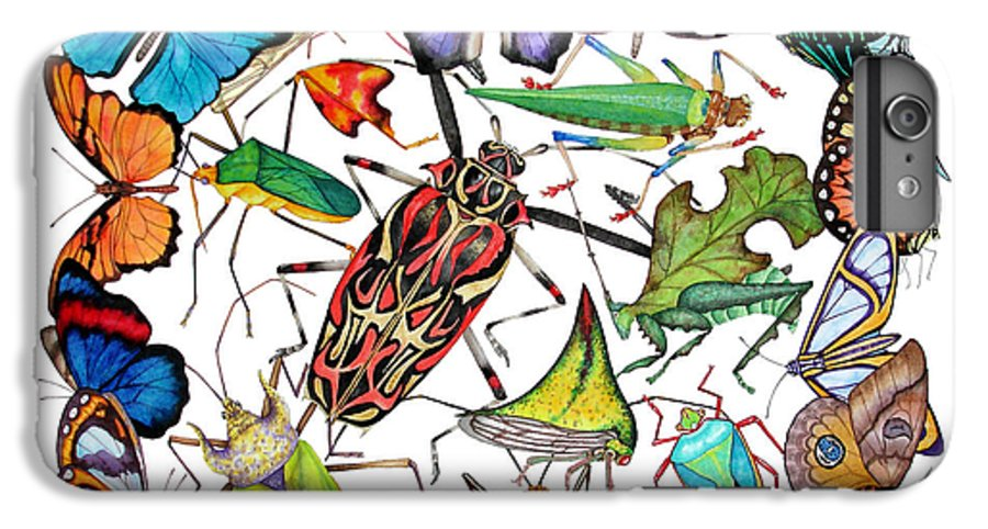 Insects IPhone 6s Plus Case featuring the painting Amazon Insects by Lucy Arnold