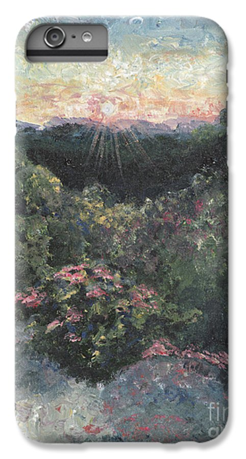 Landscape IPhone 6s Plus Case featuring the painting Arkansas Mountain Sunset by Nadine Rippelmeyer