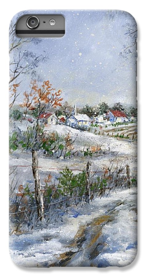 Snowfall IPhone 6s Plus Case featuring the painting Around The Bend Sold by Virginia Potter