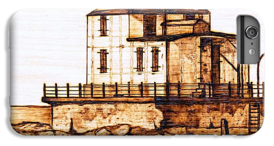 Lighthouse IPhone 6s Plus Case featuring the pyrography Ashtabula Harbor by Danette Smith