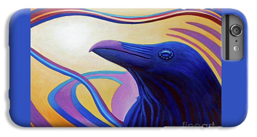 Raven IPhone 6s Plus Case featuring the painting Astral Raven by Brian Commerford