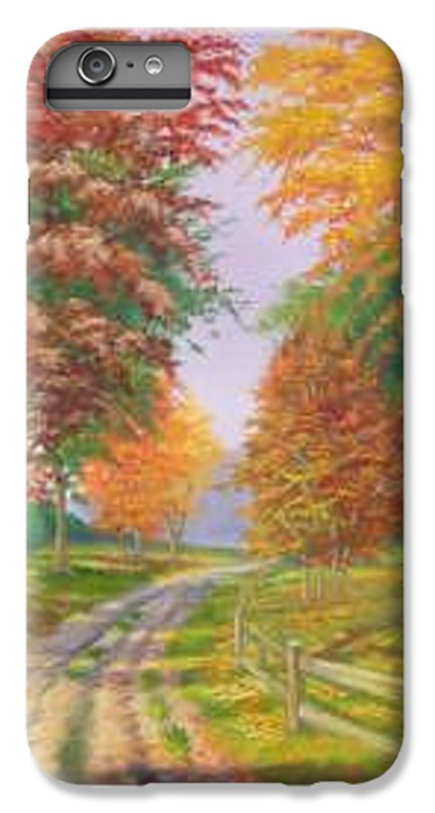 Fall Scene IPhone 6s Plus Case featuring the painting Autumn Drive by Tan Nguyen